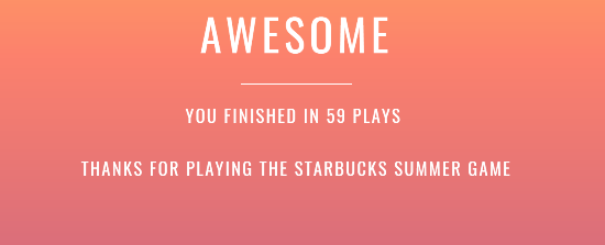 Starbucks Summer Game Step 5 Complete